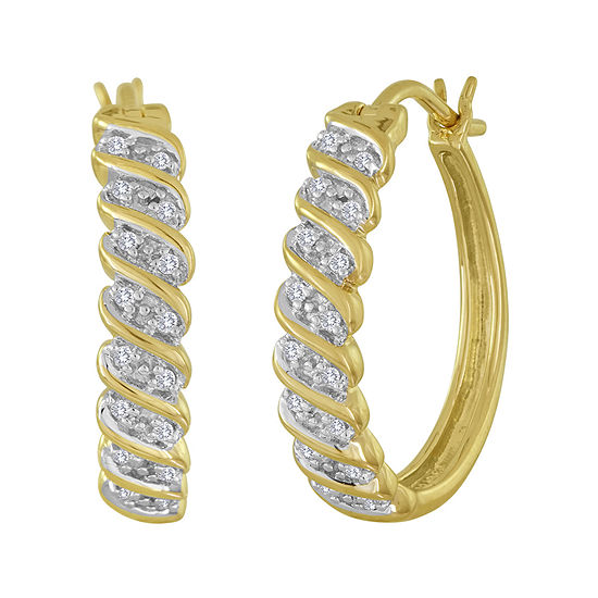 T W Diamond 14k Yellow Gold Over Sterling Silver Hoop Earrings