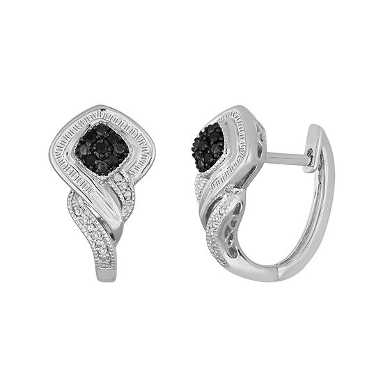 1/3 CT. T.W. White & Color-Enhanced Black Diamond Sterling Silver Earrings