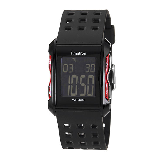 Armitron Pro Sport Mens Chronograph Multi-Function Digital Black Strap Watch-49/1025redj