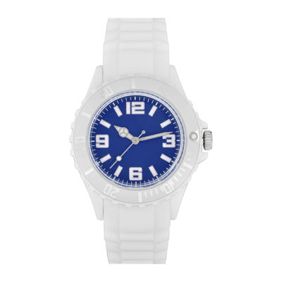 Womens Accutime White/Navy Strap Watch