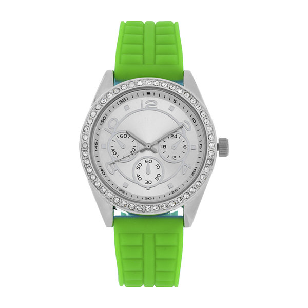 Womens Green/Silver Strap Watch