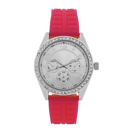 Womens Pink/Silver Strap Watch