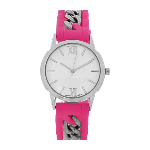 Womens Silver-Tone Chain Pink Silicone Watch