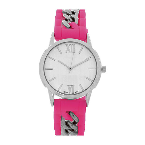 Womens Silver Tone Chain Pink Silicone Watch