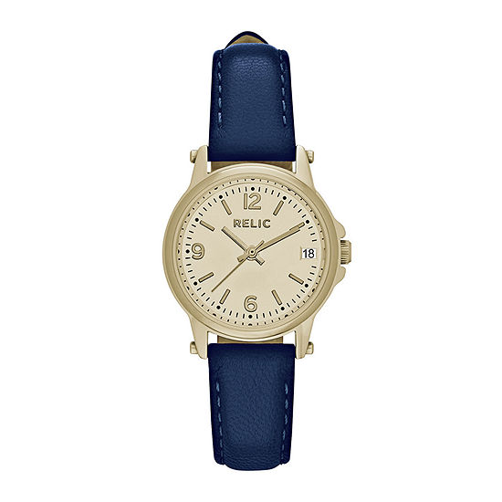 Relic By Fossil Womens Blue Leather Strap Watch-Zr34349