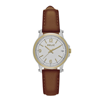 Relic® Womens Brown Zr34350 Strap Watch