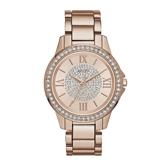 Relic By Fossil Womens Rose Goldtone Stainless Steel Bracelet Watch-Zr12178