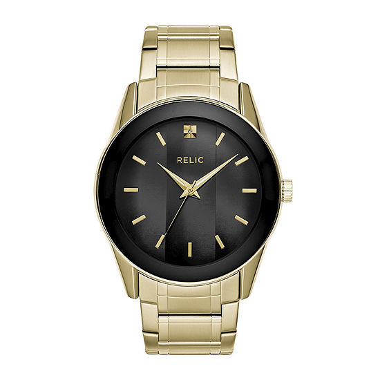 Relic By Fossil Mens Gold Tone Stainless Steel Bracelet Watch-Zr77273