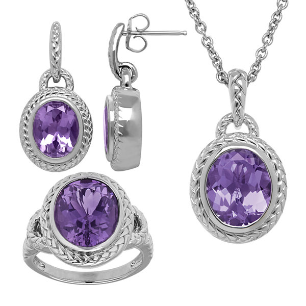 Genuine Amethyst Sterling Silver 3-pc. Jewelry Set