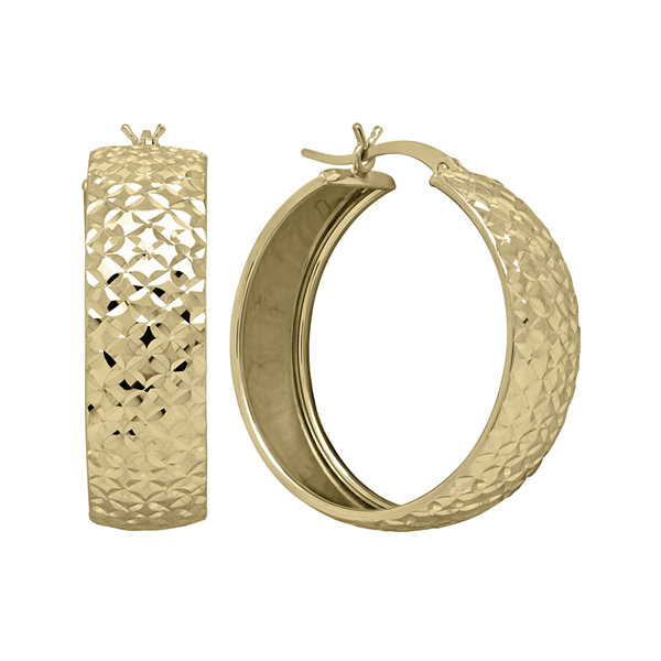 14K Yellow Gold Diamond-Cut Hoop Earrings