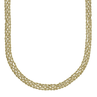 14K Yellow Gold Braided Popcorn Necklace