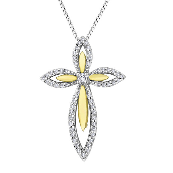 1/5 CT. T.W. Diamond 14K Gold Over Sterling Silver Cross Pendant Necklace