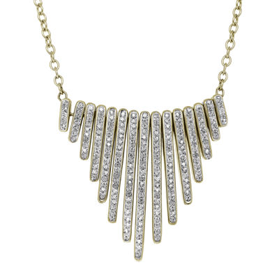 White Crystal 14K Yellow Gold Over Sterling Silver Graduating Bar Necklace