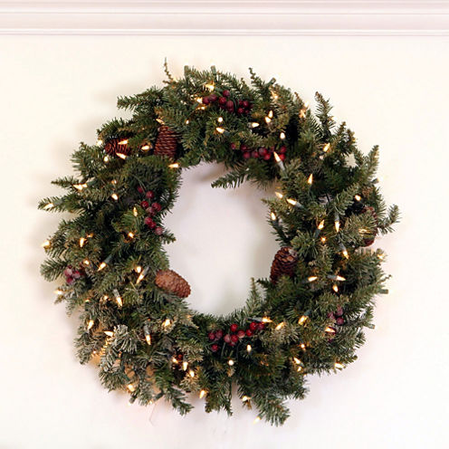 """30"""" Pre-Lit Frosted Edina Fir Artificial Christmas Wreath with Clear Lights"""
