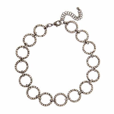 Natasha Accessories Womens Gray Choker Necklace