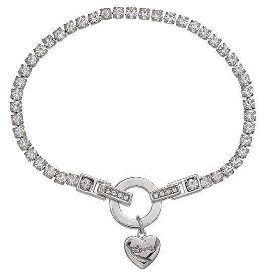 Sparkle Allure White 7.5 Inch Heart Charm Bracelet