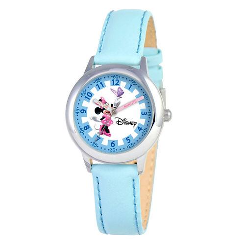 Disney Minnie Mouse Girls Blue Strap Watch-W000040