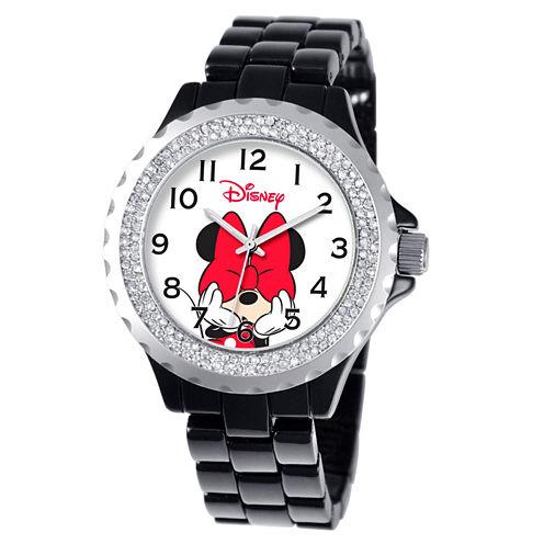 Disney Minnie Mouse Womens Black Bracelet Watch-W000502