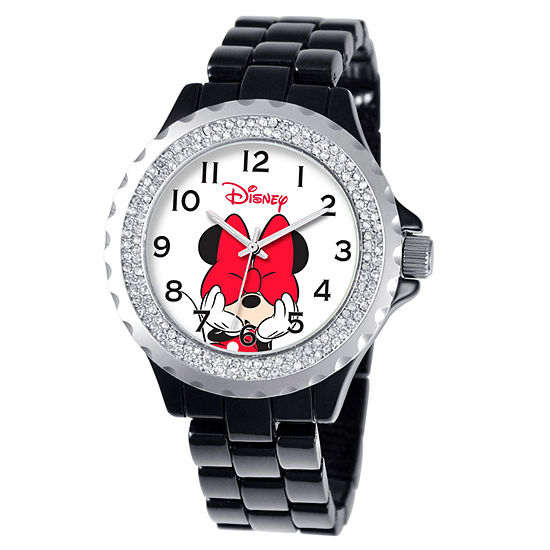 Disney Minnie Mouse Womens Black Bracelet Watch-W000502