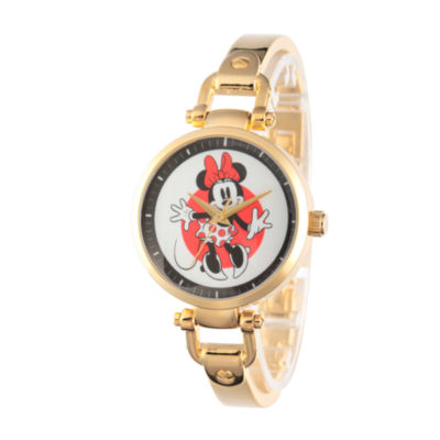Disney Minnie Mouse Womens Gold Tone Bracelet Watch-W002809