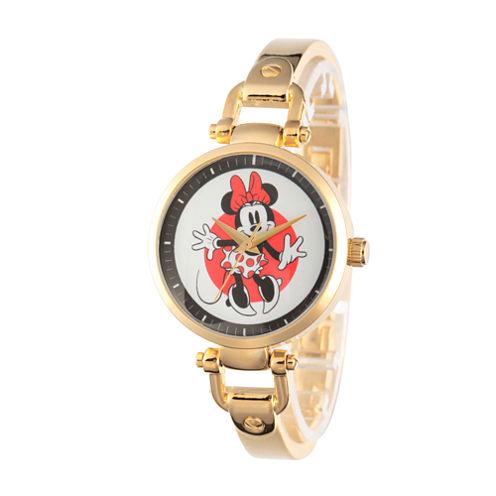 Disney Minnie Mouse Womens Gold Tone Bracelet Watch-W002809