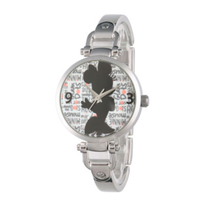 Disney Minnie Mouse Womens Silver Tone Bracelet Watch-W002813