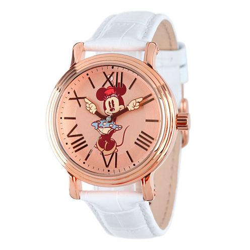 Disney Minnie Mouse Mens White Strap Watch-W001857