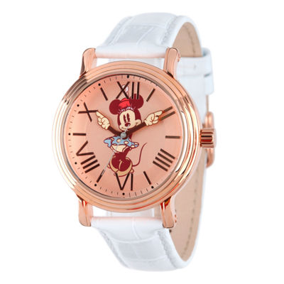 Disney Minnie Mouse Mens White Strap Watch-W001857