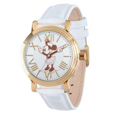 Disney Minnie Mouse Womens White Strap Watch-W001859