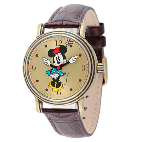 Disney Minnie Mouse Womens Brown Strap Watch-W001876