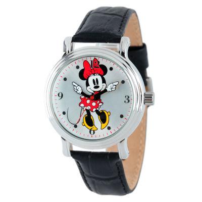 Disney Minnie Mouse Womens Black Strap Watch-W001878
