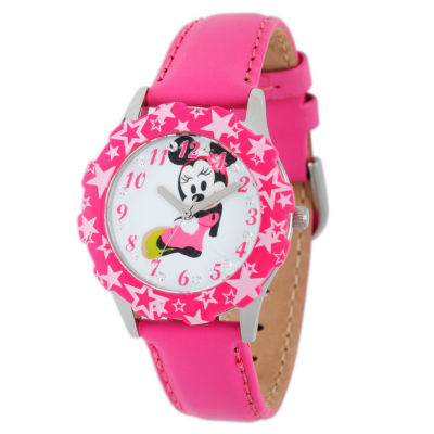 Disney Minnie Mouse Girls Pink Strap Watch-W001977
