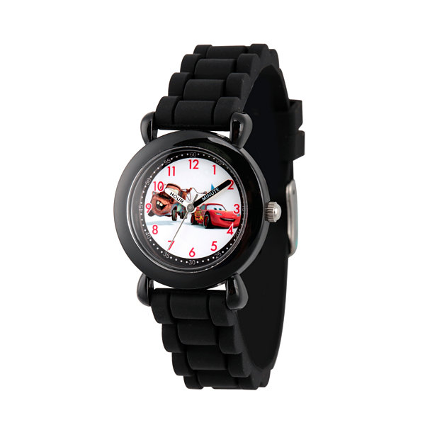 Disney Cars Boys Black Strap Watch-Wds000001