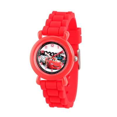 Disney Cars Boys Red Strap Watch-Wds000002