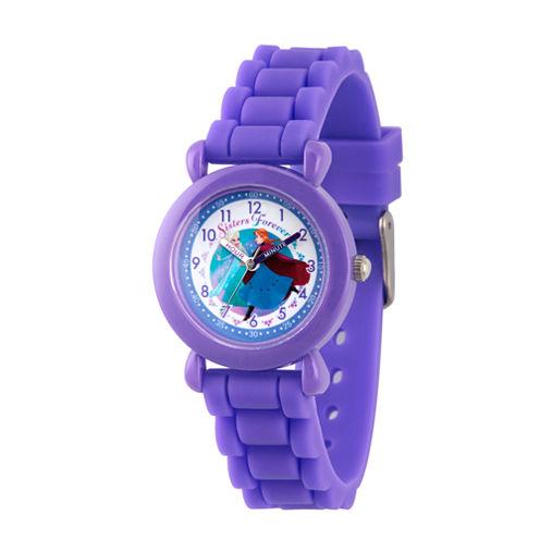 Disney Frozen Girls Purple Strap Watch-Wds000005