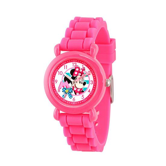 Disney Minnie Mouse Girls Pink Strap Watch-Wds000006