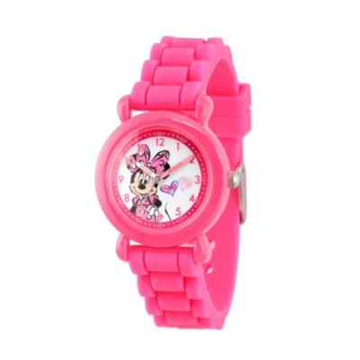 Disney Minnie Mouse Girls Pink Strap Watch-Wds000007
