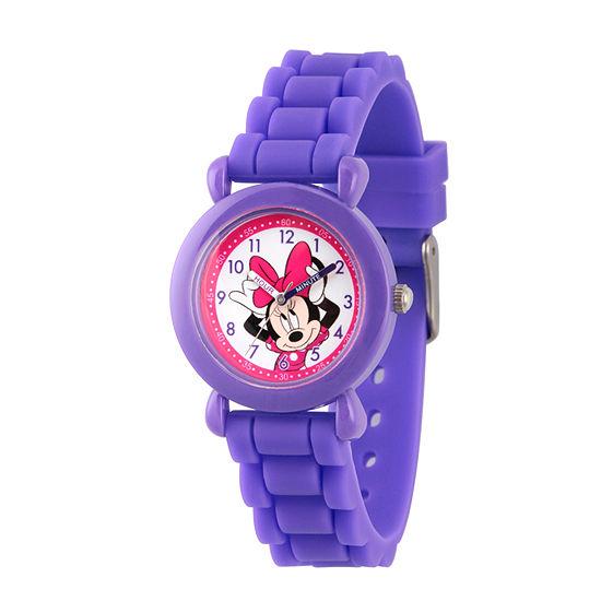 Disney Minnie Mouse Girls Purple Strap Watch-Wds000008