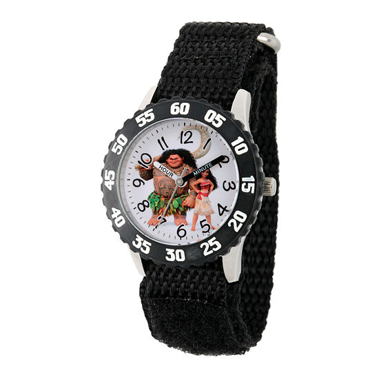Disney Moana Boys Black Strap Watch-Wds000032