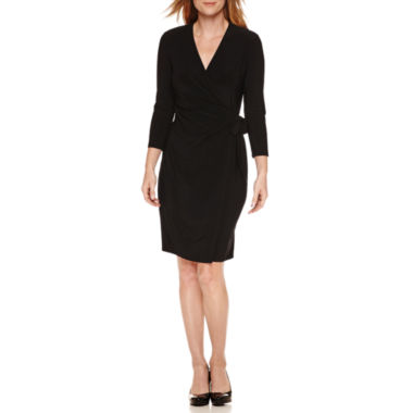 Black Label by Evan-Picone 3/4 Sleeve Faux Wrap Dress