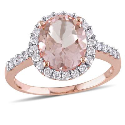 Pink Morganite 10K Gold Engagement Ring