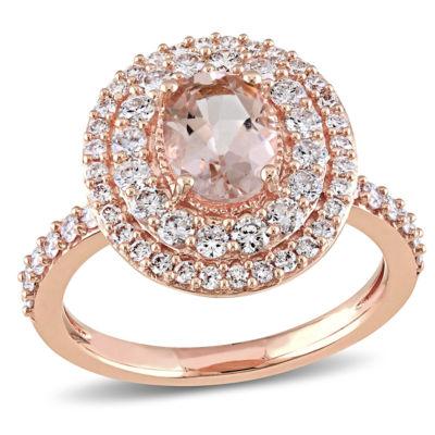 Modern Bride Gemstone Womens Genuine Pink Morganite 14K Gold Engagement Ring