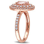 Modern Bride Gemstone Womens Genuine Pink Morganite 14K Gold Engagement Ring
