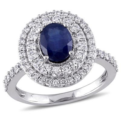 Modern Bride Gemstone Womens Genuine Blue Sapphire 14K Gold Engagement Ring
