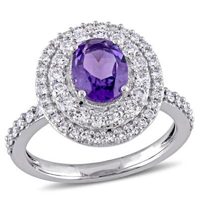 Womens Genuine Purple Amethyst 14K Gold Engagement Ring