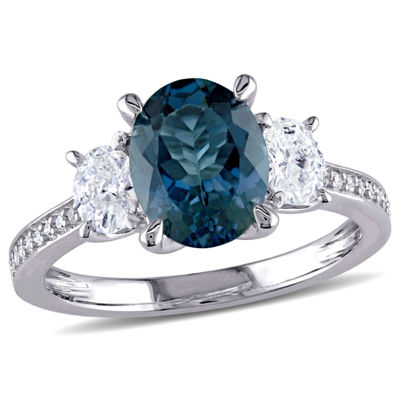 Modern Bride Gemstone Womens Genuine Blue Topaz 14K Gold Engagement Ring