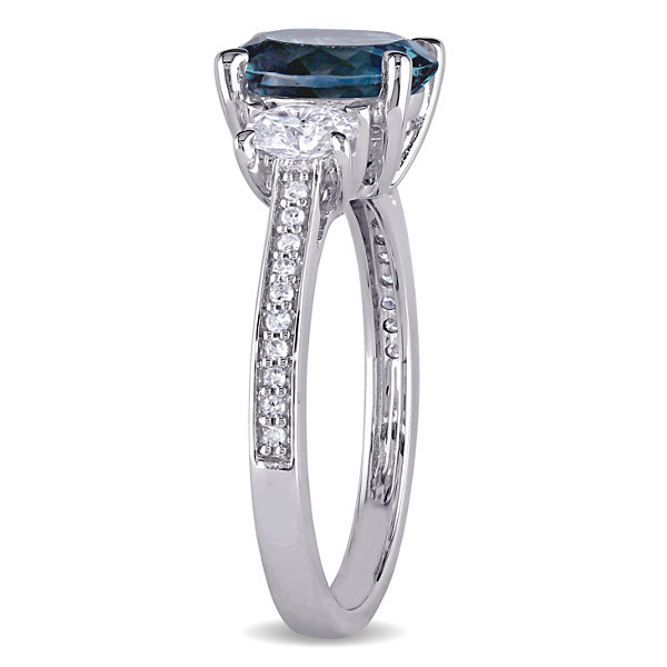 Womens Genuine Blue Topaz 14K Gold Engagement Ring