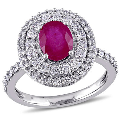 Womens Red Lab-Created Ruby 14K Gold Engagement Ring