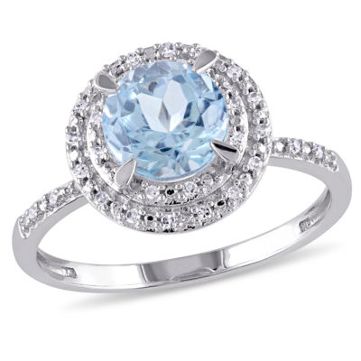 Womens Genuine Blue Topaz 10K Gold Engagement Ring