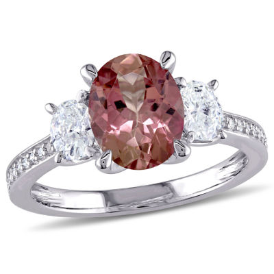 Modern Bride Gemstone Womens Genuine Pink Tourmaline 14K Gold Engagement Ring